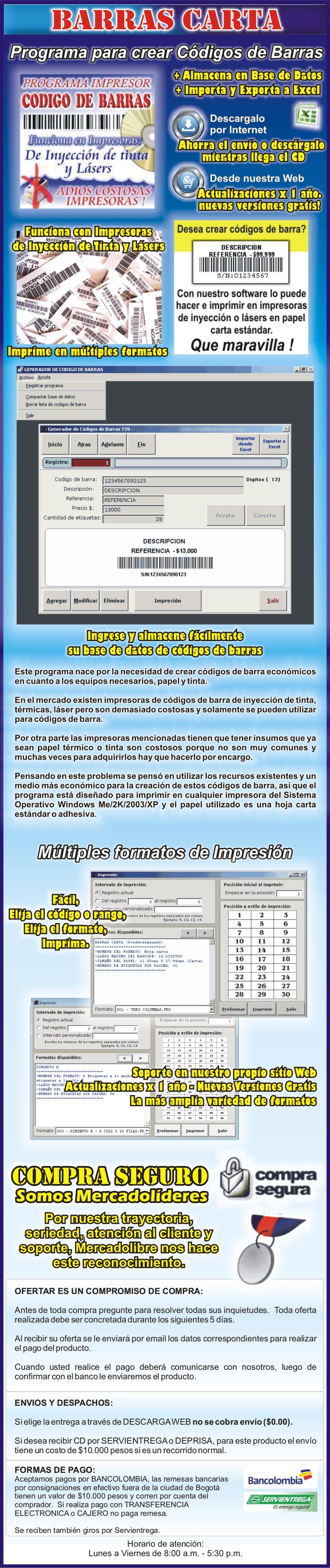 Programa para impresión de etiquetas de códigos de barras usando impresoras convencionales