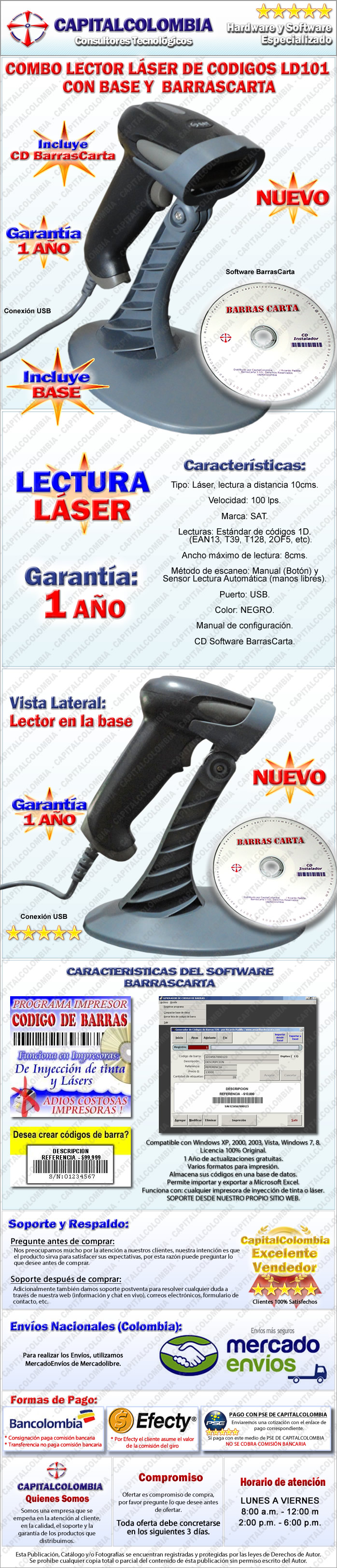 Lector de Códigos de Barras Láser con Base y software BarrasCarta
