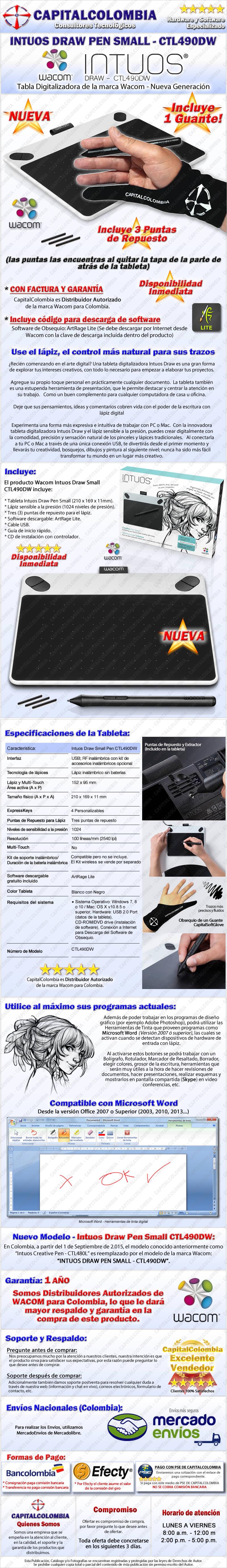 Tabla Digitalizadora Wacom Intuos Draw Pen Small CTL490DW