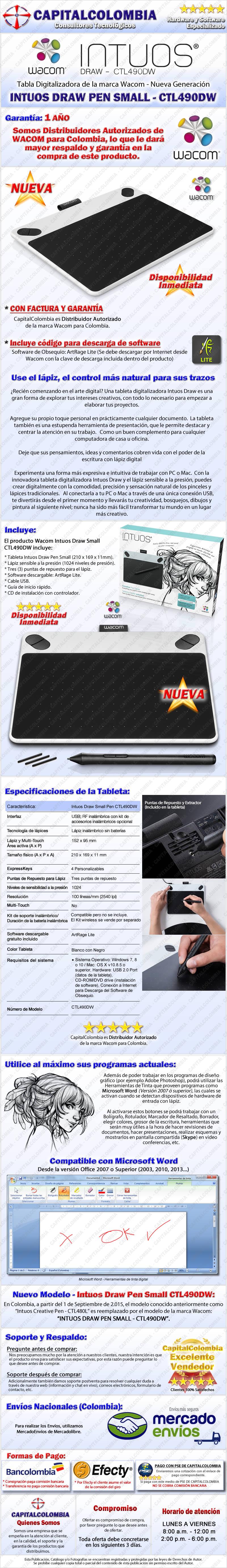 Tableta Wacom Intuos Draw Pen CTL490dw